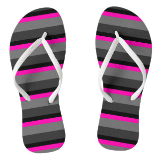 trendy bright neon pink black and grey striped flip flops
