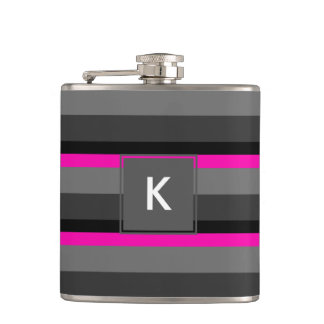 trendy bright neon pink black and grey striped hip flask
