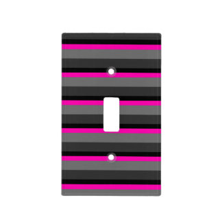 trendy bright neon pink black and grey striped light switch cover
