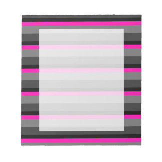 trendy bright neon pink black and grey striped notepad