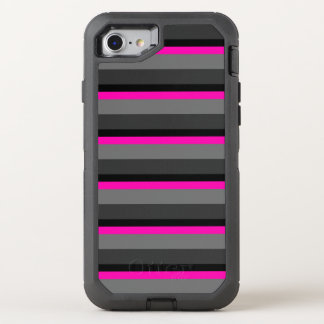 trendy bright neon pink black and grey striped OtterBox defender iPhone 8/7 case