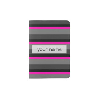 trendy bright neon pink black and grey striped passport holder
