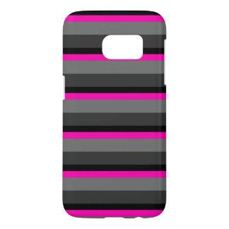 trendy bright neon pink black and grey striped samsung galaxy s7 case