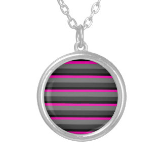 trendy bright neon pink black and grey striped silver plated necklace