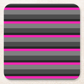 trendy bright neon pink black and grey striped square paper coaster