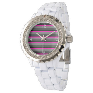 trendy bright neon pink black and grey striped watch