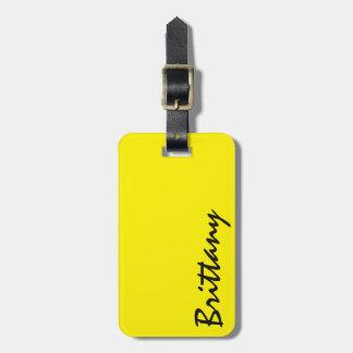 Trendy Bright Neon Yellow & Black Monogram Luggage Tag
