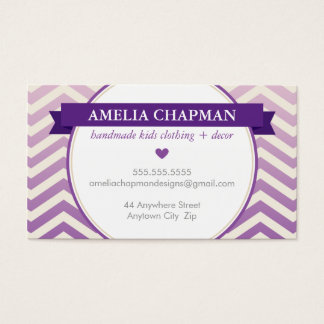 TRENDY bright ombre chevron pattern violet purple Business Card