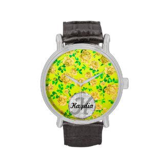 Trendy Bright Yellow Green Vintage Floral Monogram Wristwatch