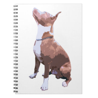 Trendy brown and white Pit Bull dog Spiral Note Books