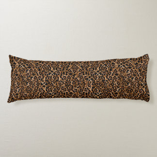 Trendy Brown Exotic Fur Pattern Leopard Print Body Pillow