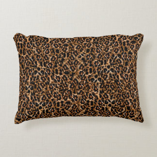 Trendy Brown Exotic Fur Pattern Leopard Print Decorative Pillow