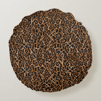 Trendy Brown Exotic Fur Pattern Leopard Print Round Pillow