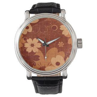 Trendy Brown Floral Vintage Wrist Watch