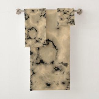 Trendy  brown marble stone texture design bath towel set