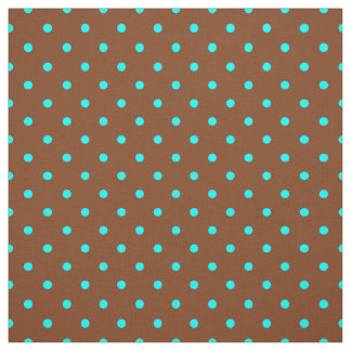 Trendy Brown Turquoise Blue Polka Dot Pattern Fabric