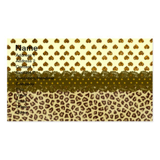 Trendy Brown Yellow Animal Print Hearts Glitter Ph Business Cards