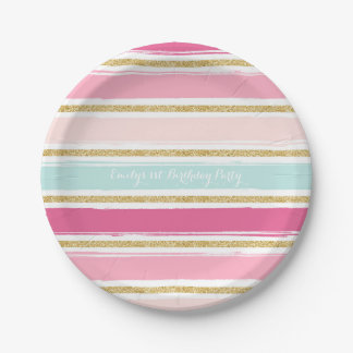 Trendy Brush Stripes Gold Glitter Paper Plates