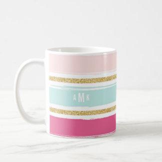 Trendy Brush Stripes with Gold Glitter Monogram I Coffee Mug