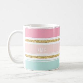 Trendy Brush Stripes with Gold Glitter Monogram II Coffee Mug