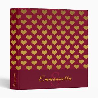 Trendy Burgundy and Gold Hearts Monogram Name Vinyl Binders