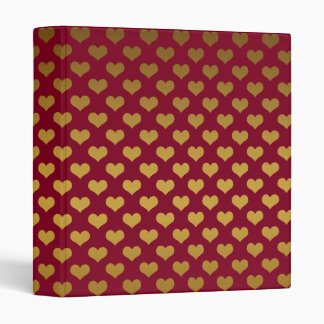 Trendy Burgundy and Gold Hearts Pattern 3 Ring Binders