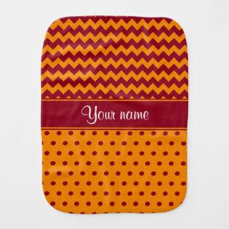 Trendy Burgundy Chevrons Tangerine Polka Dots Burp Cloth