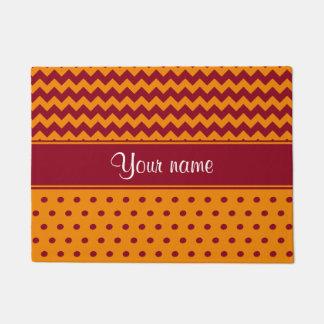 Trendy Burgundy Chevrons Tangerine Polka Dots Doormat