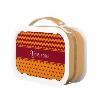 Trendy Burgundy Chevrons Tangerine Polka Dots Lunch Boxes