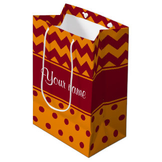 Trendy Burgundy Chevrons Tangerine Polka Dots Medium Gift Bag