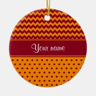 Trendy Burgundy Chevrons Tangerine Polka Dots Round Ceramic Ornament