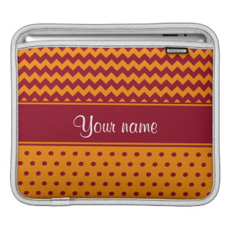 Trendy Burgundy Chevrons Tangerine Polka Dots Sleeves For iPads