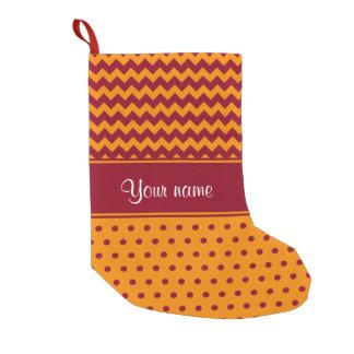 Trendy Burgundy Chevrons Tangerine Polka Dots Small Christmas Stocking
