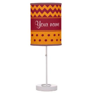 Trendy Burgundy Chevrons Tangerine Polka Dots Table Lamp