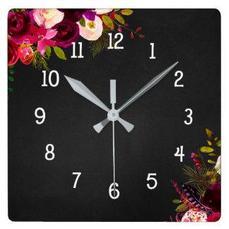 Trendy Burgundy floral chalkboard clock