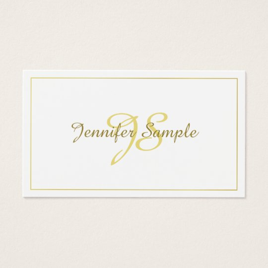 Trendy Calligraphy Gold Script Minimalistic Plain Business Card