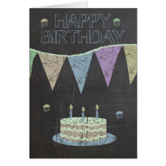 Trendy Chalk Board Effect, With Cake Card