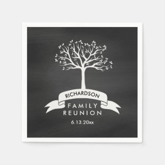 Trendy Chalkboard Look with Tree Family Reunion Disposable Napkins