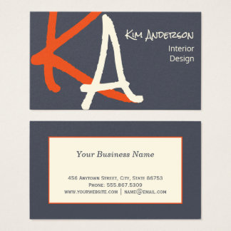 Trendy Charcoal Indigo Smoke Monogram Generic Business Card