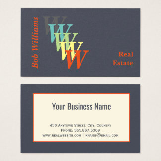 Trendy Charcoal Indigo Stylized Real Estate Business Card