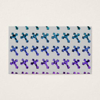 Trendy Cheetah Faded Glitter Cross Printed Image Business Card