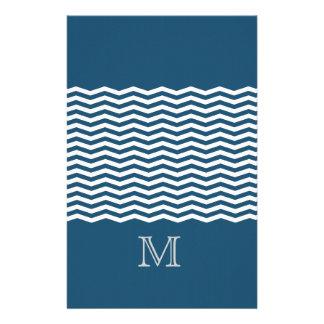 Trendy chevron blue monogram custom stationery