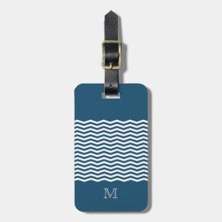 Trendy chevron blue monogram luggage tag