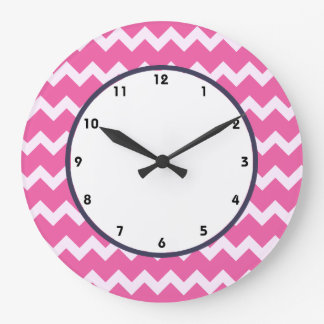 trendy chevron cerise white retro clock pink