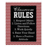Trendy Chevron Classroom Rules Poster