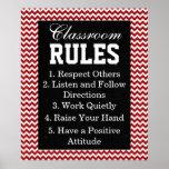 Trendy Chevron Classroom Rules Poster
