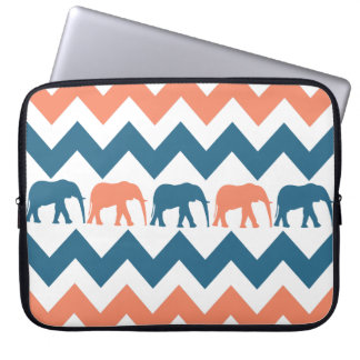 Trendy Chevron Elephants Coral Blue Laptop Sleeve