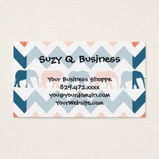 Trendy Chevron Elephants Coral Blue Stripe Pattern Business Card
