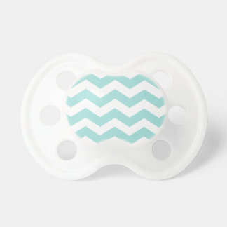 Trendy Chevron Light Aqua and White Stripes Pacifiers