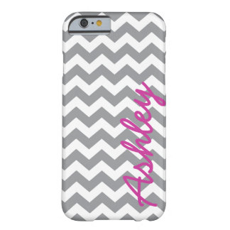 Trendy Chevron Pattern with name - pink gray Barely There iPhone 6 Case